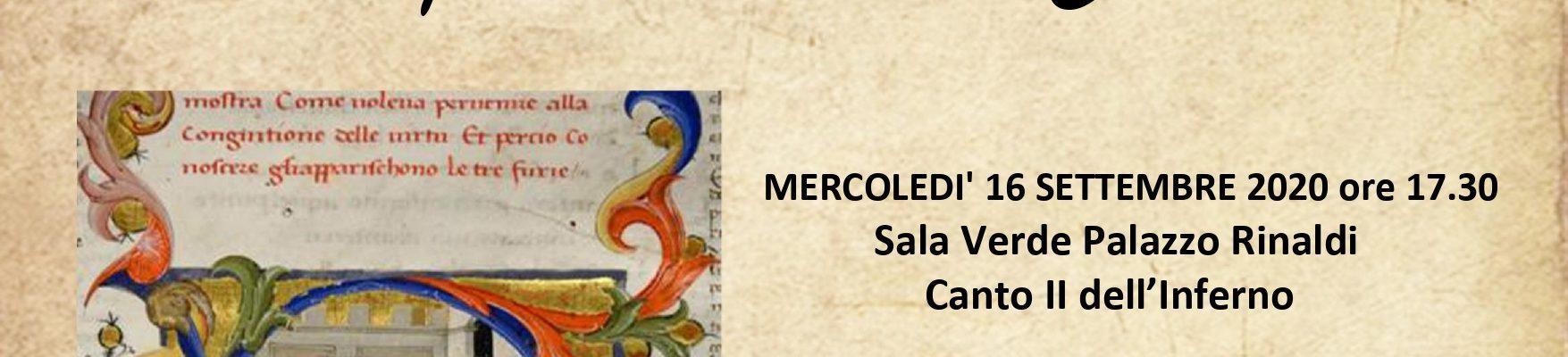 """16.09.20   Lecturae Dantis""""I Canti proemiali della Commedia.""""-Canto II Inferno a cura di G.De Conti"""